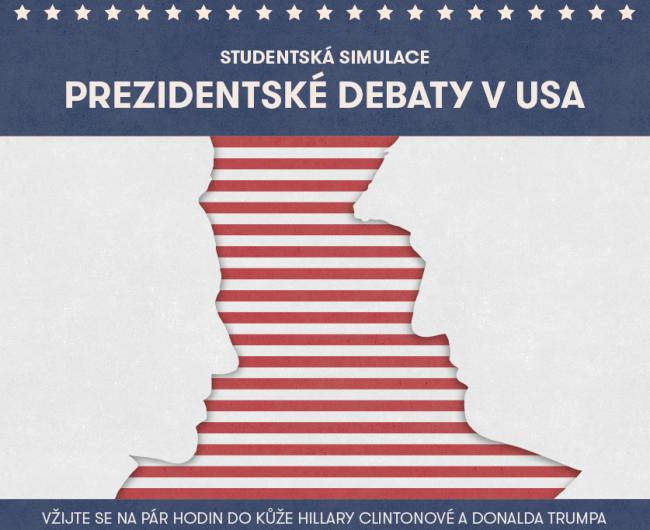 Náborový plakát k projektu Simulace americké prezidentské debaty 2016